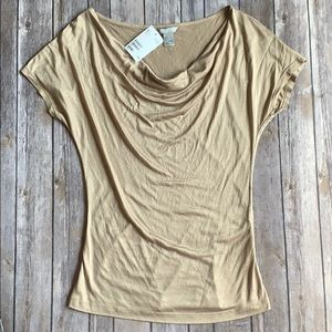 NWT H&M Tan Cowl Neck Tee size S